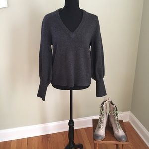 Madewell Wool Knit V-Neck Long Sleeve Grey Sweater